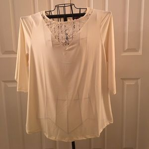 Ivory cream off white blouse w/ 3/4 sleeves 18/20